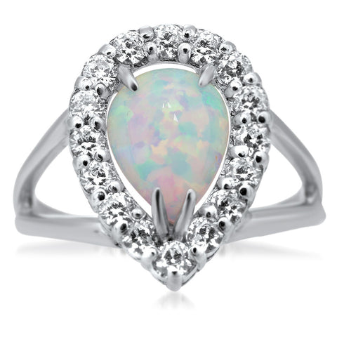 875 Silver Ring with White Opal