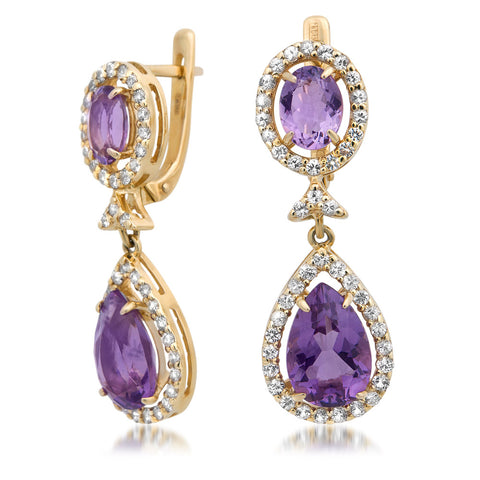 14K Yellow Gold Earrings with Amethyst