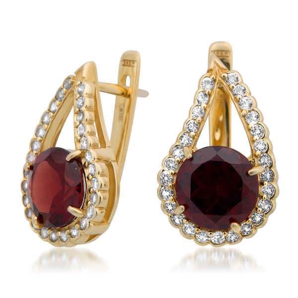 14K Yellow Gold Earrings with Garnet