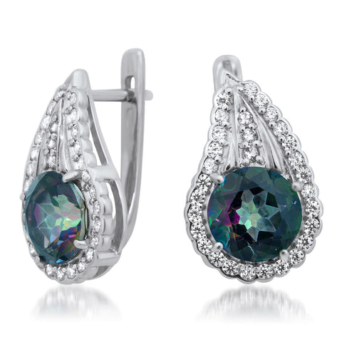 875 Silver Earrings with Mystic Topaz