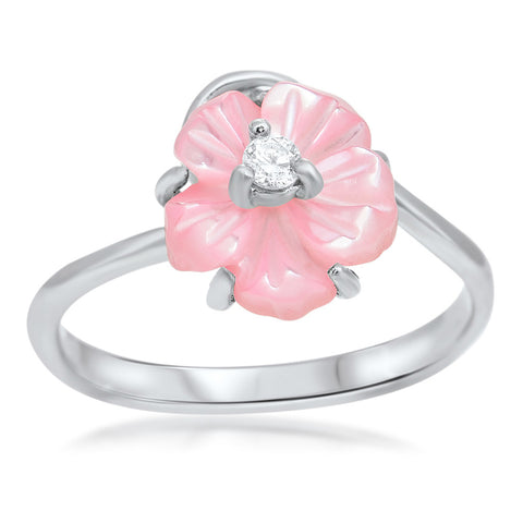875 Silver Ring with Pink Mother of Pearl