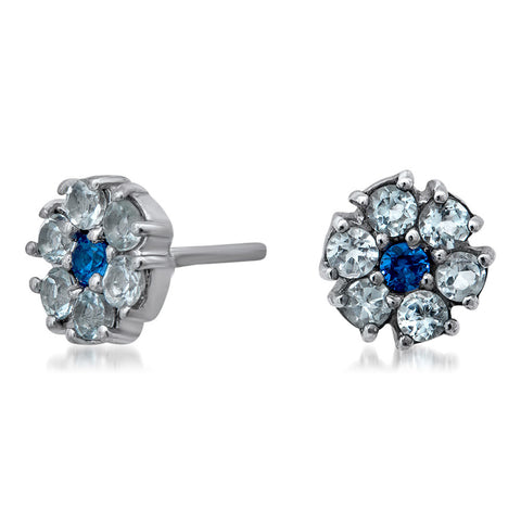 925 Silver Earrings with Blue Spinel