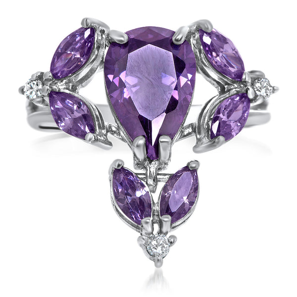 925 Silver Ring with Purple CZ