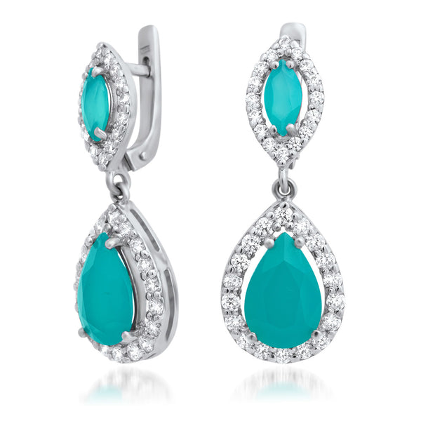 875 Silver Earrings with Blue Chalcedony