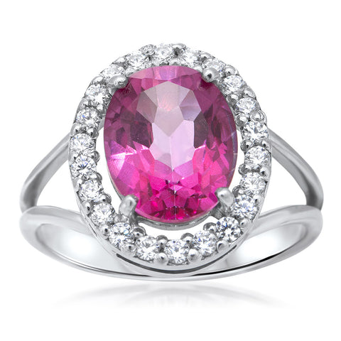 875 Silver Ring with Pink Topaz