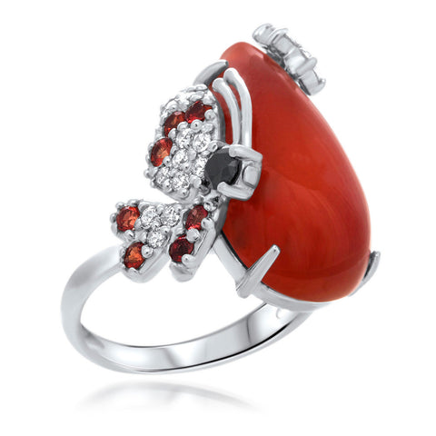 875 Silver Ring with Carnelian, Orange Sapphire