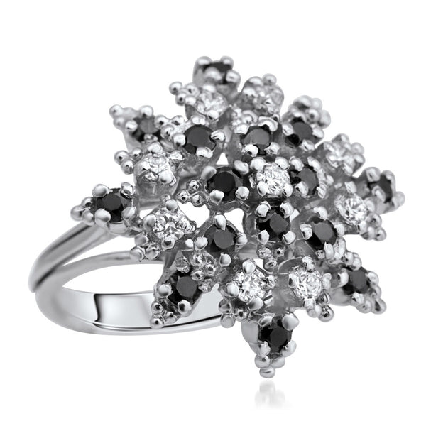 875 Silver Ring with Black CZ, White CZ