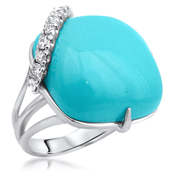 875 Silver Ring with Turquoise