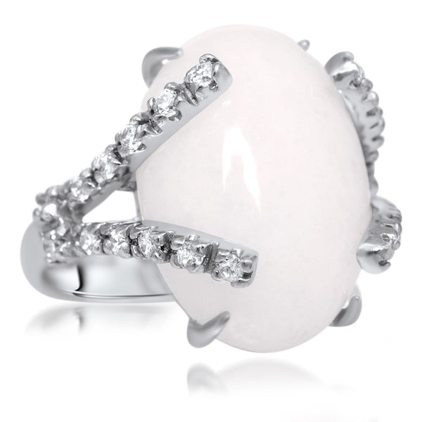 875 Silver Ring with White Agate