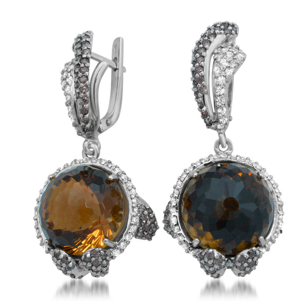 875 Silver Earrings with Cognac Citrine