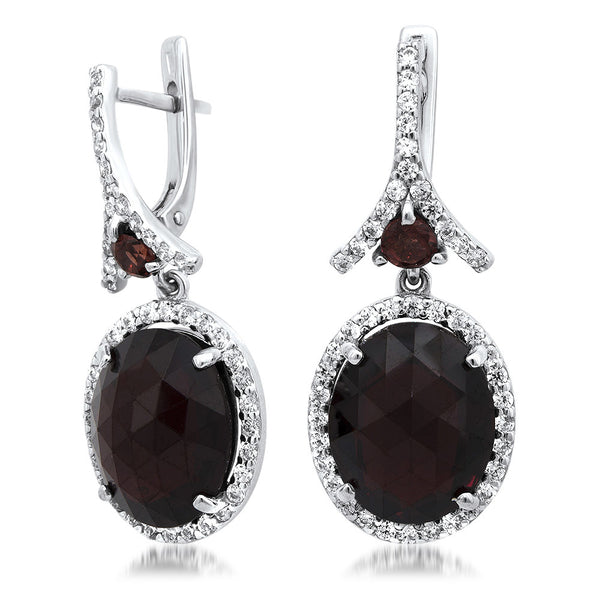 875 Silver Earrings with Garnet