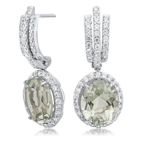 925 Silver Earrings with Prasiolite