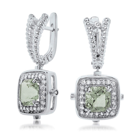 925 Silver Earrings with Green Citrine