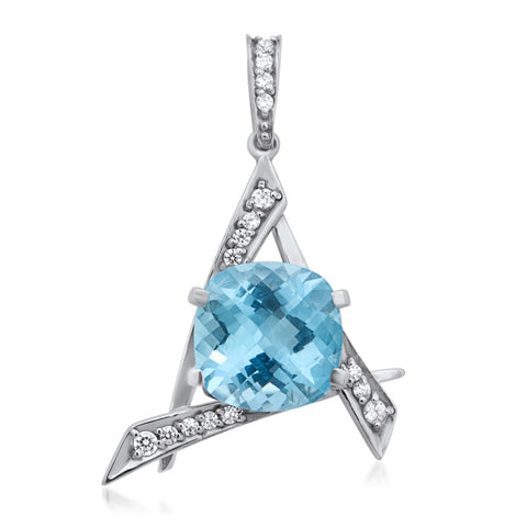 875 Silver Pendant with Blue Topaz