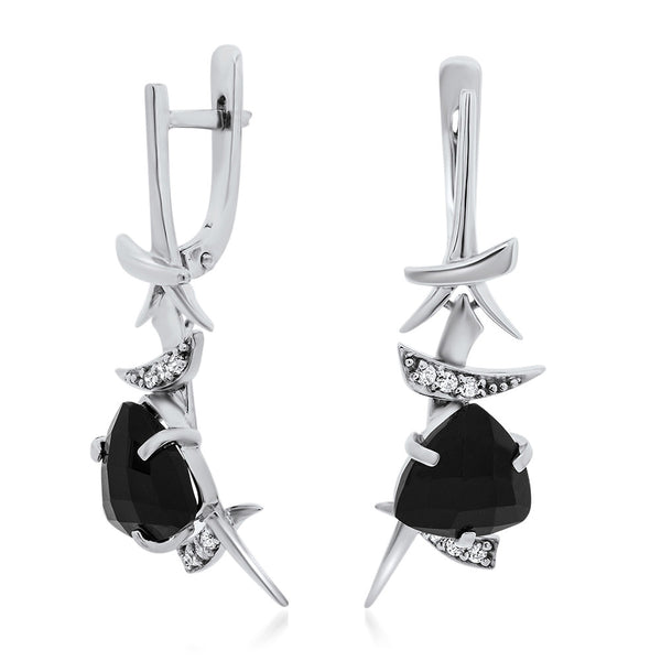 925 Silver Earrings with Onyx