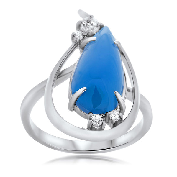 925 Silver Ring with Blue Agate