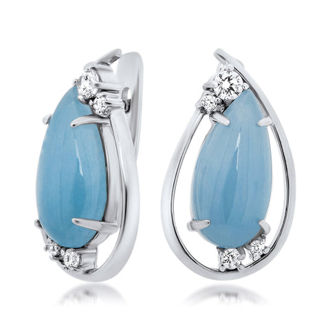 925 Silver Earrings with Blue Agate
