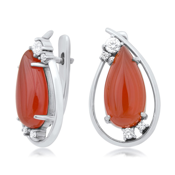 925 Silver Earrings with Carnelian