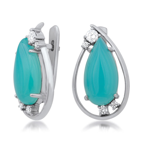 925 Silver Earrings with Teal Paraiba Agate