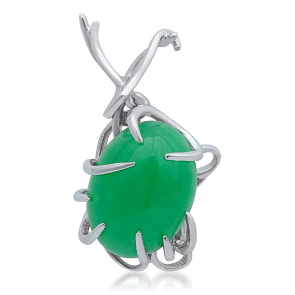 875 Silver Pendant with Green Jade