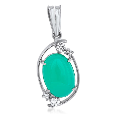 875 Silver Pendant with Chrysoprase