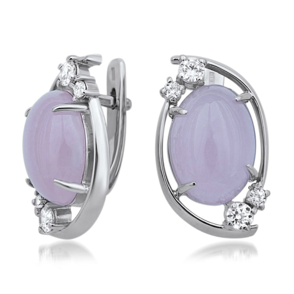 875 Silver Earrings with Pink Jade