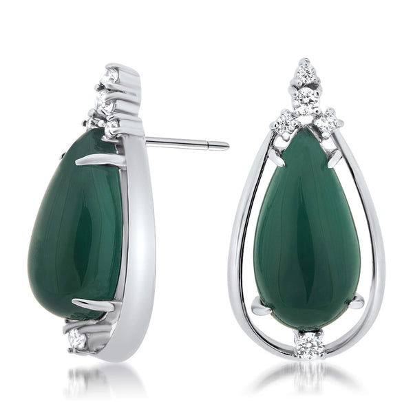 925 Silver Earrings with Green Chalcedony