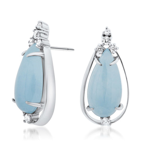 925 Silver Earrings with Blue Jade