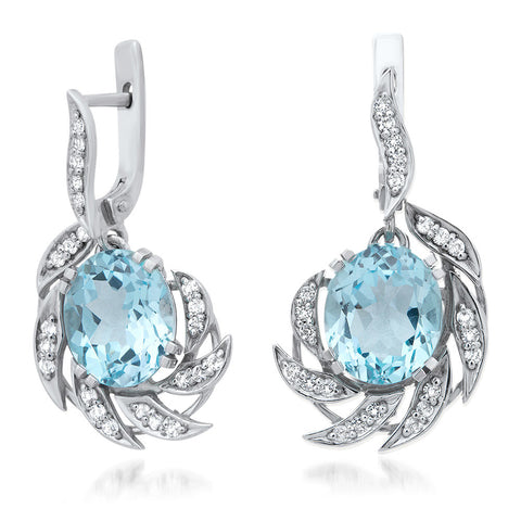 925 Silver Earrings with Blue Topaz