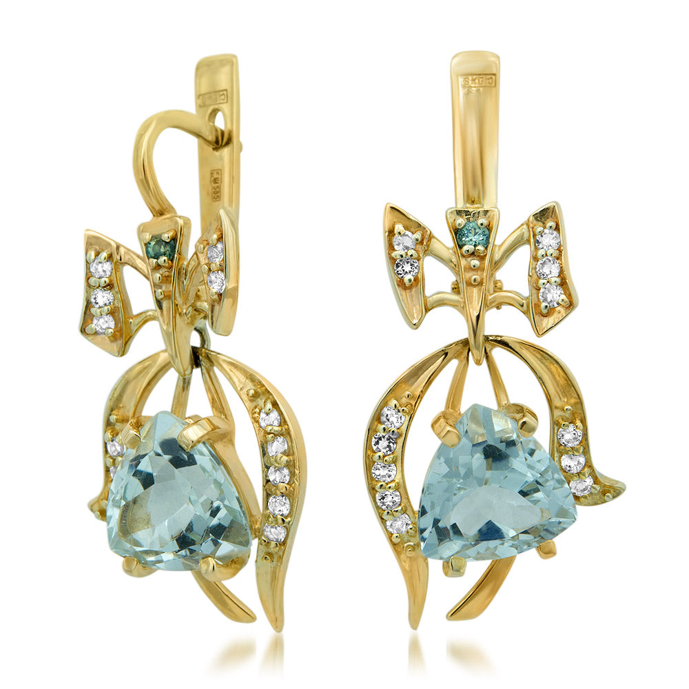 14K Yellow Gold Earrings with Prasiolite