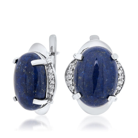 925 Silver Earrings with Lapis Lazuli