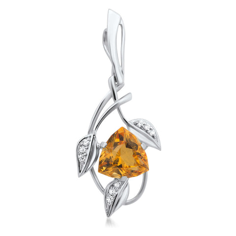 875 Silver Pendant with Yellow Citrine