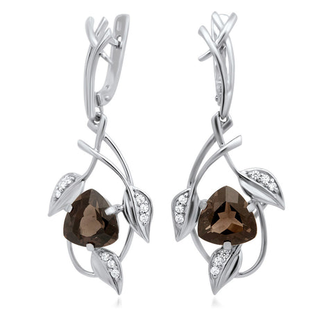 875 Silver Earrings with Smoky Quartz