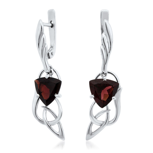 925 Silver Earrings with Garnet