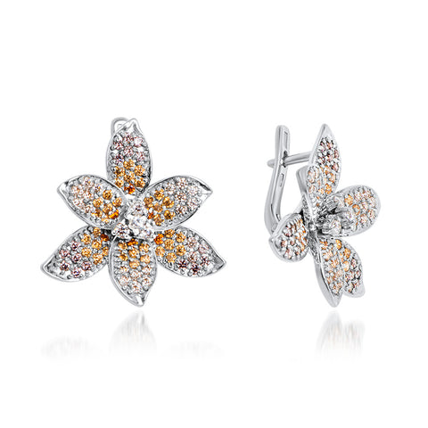 875 Silver Earrings with Orange CZ, White CZ, Yellow CZ