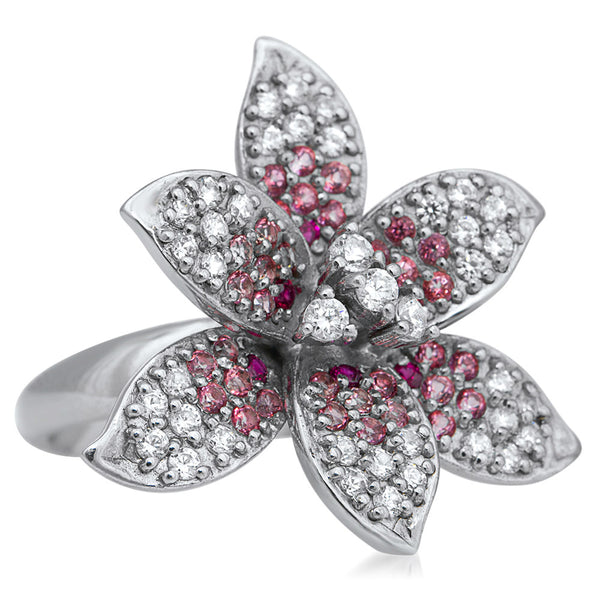 875 Silver Ring with Pink Corundum, White CZ