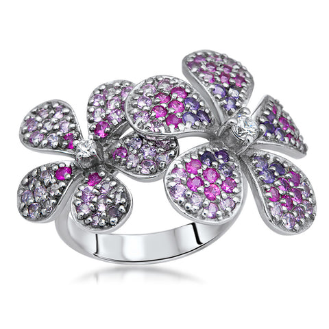 875 Silver Ring with Pink Sapphire, Amethyst, White CZ