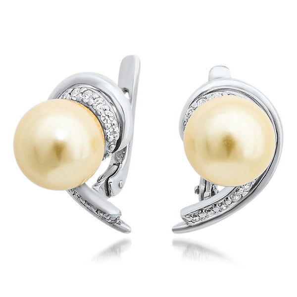 875 Silver Earrings with Yellow Shell Pearl