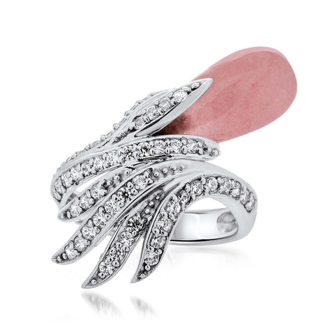875 Silver Ring with Pink Jade