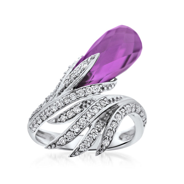875 Silver Ring with Purple Corundum