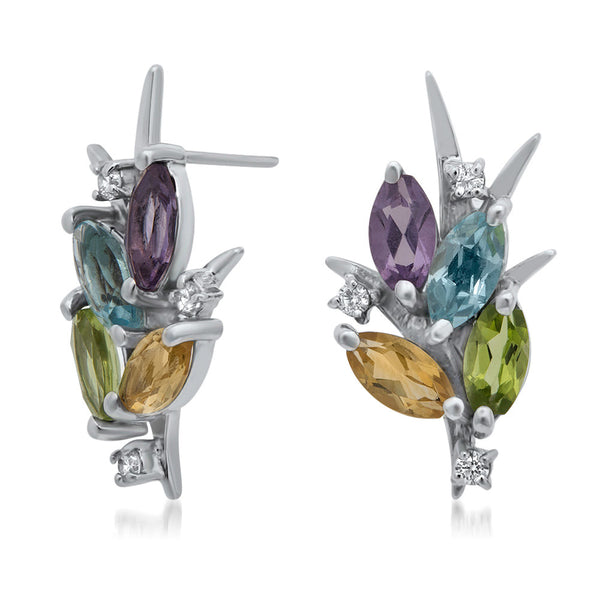 925 Silver Earrings with Amethyst, Yellow Citrine, Peridot, Blue Topaz