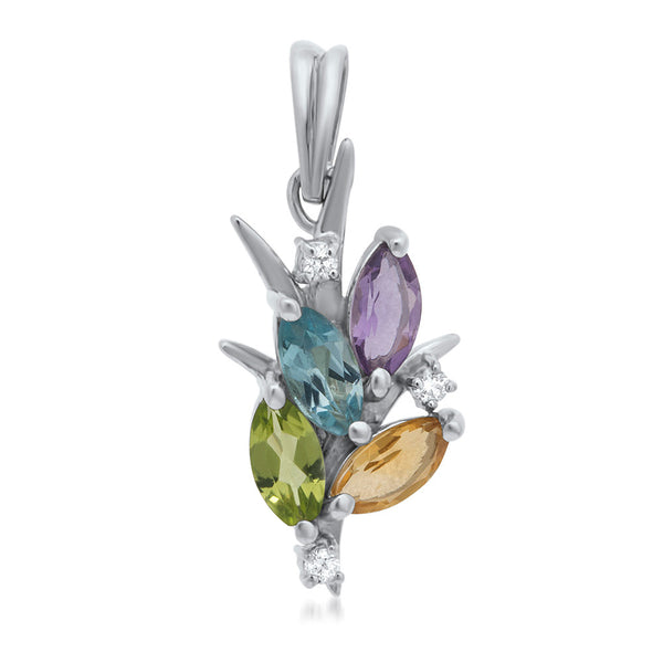 925 Silver Pendant with Amethyst, Yellow Citrine, Peridot, Blue Topaz