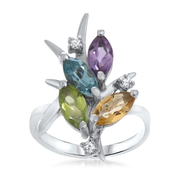 925 Silver Ring with Amethyst, Yellow Citrine, Peridot, Blue Topaz
