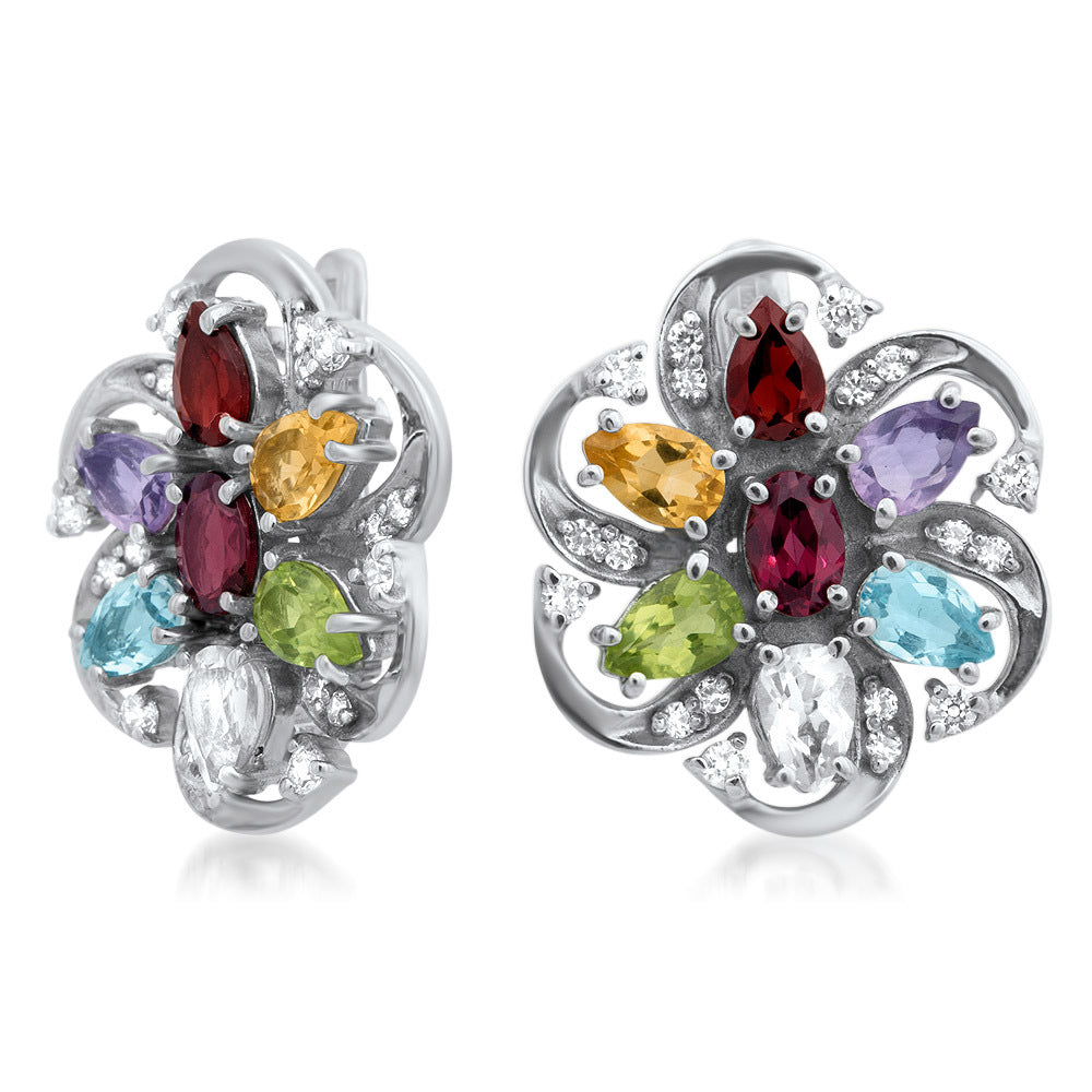 875 Silver Earrings with Amethyst, Yellow Citrine, Garnet, Peridot, Prasiolite, Blue Topaz