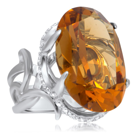 925 Silver Ring with Cognac Citrine