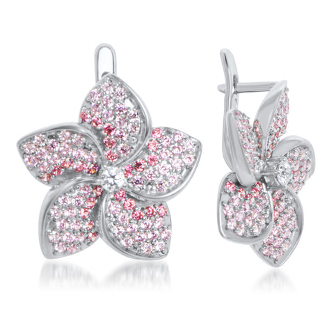 875 Silver Earrings with Pink CZ, Red CZ, White CZ