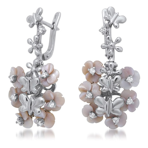 875 Silver Earrings with Pink Mother of Pearl
