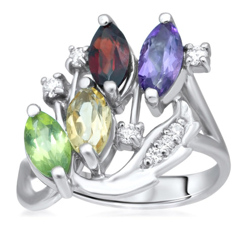 875 Silver Ring with Amethyst, Yellow Citrine, Garnet, Peridot