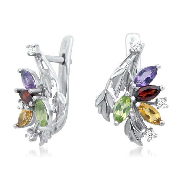 875 Silver Earrings with Amethyst, Yellow Citrine, Garnet, Peridot