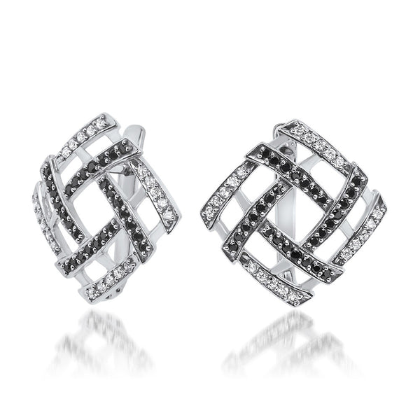 925 Silver Earrings with Black CZ, White CZ